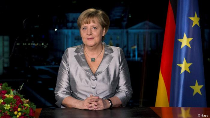 Chancellor Angela Merkel at the chancellery in Berlin following the recording of her New Year's address (dapd-Text)