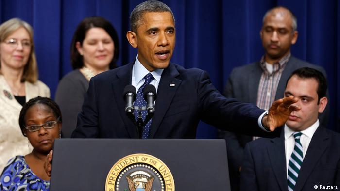 U.S. President Barack Obama talks about the negotiations with Capitol Hill about the looming fiscal cliff while in the Eisenhower Executive Office Building on the White House complex in Washington, December 31, 2012. Obama on Monday said it appeared a deal on the fiscal cliff was within sight but it was not complete yet. REUTERS/Larry Downing (UNITED STATES - Tags: POLITICS BUSINESS)