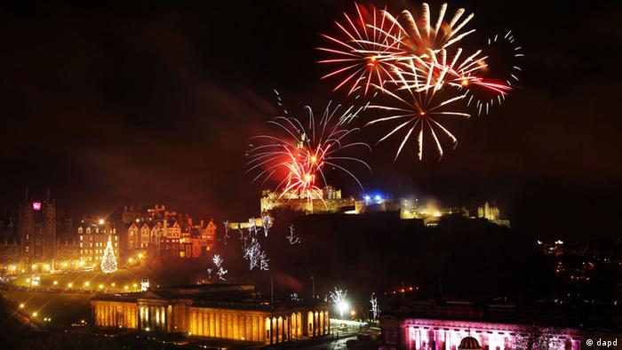 fireworks over Edinburgh Scottand