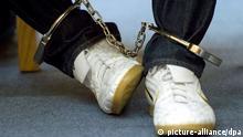 Der Angeklagte Florian K. sitzt am 02.11.2012 im Gerichtssaal des Landgerichts in Weiden (Bayern) mit Fußfesseln an der Anklagebank. Der 23-Jährige soll einen Rentner zunächst mit einer Armbrust in den Rücken geschossen und dann mit 18 Messerstichen getötet haben. Foto: Armin Weigel/dpa