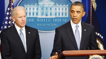 Obama delivering remarks next to Biden after the House voted on fiscal cliff legislation