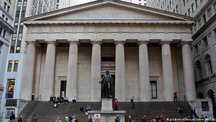 The Federal Hall National Memorial on Wall Street in New York City.