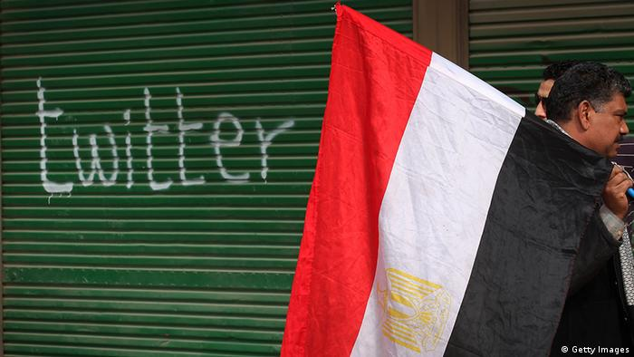 A shop in Tahrir Square is spray painted with the word Twitter (Getty Images)