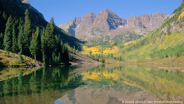 Landschaftsaufnahme Maroon Bells Aspen Colorad Rocky Mountains, USA