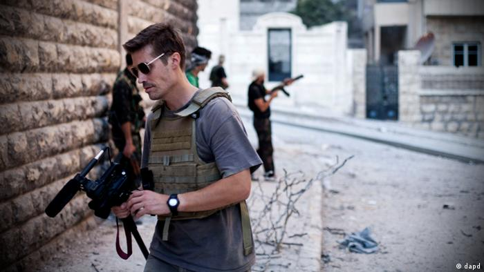 Journalist James Foley with a camera in Aleppo, Syria
