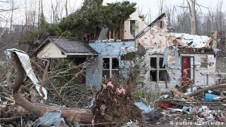 Tornado-caused destruction in Henryville, Indiana, US