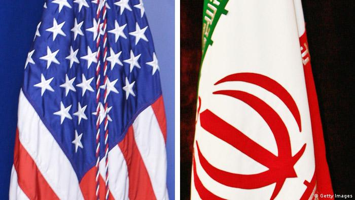 USA Iran flags