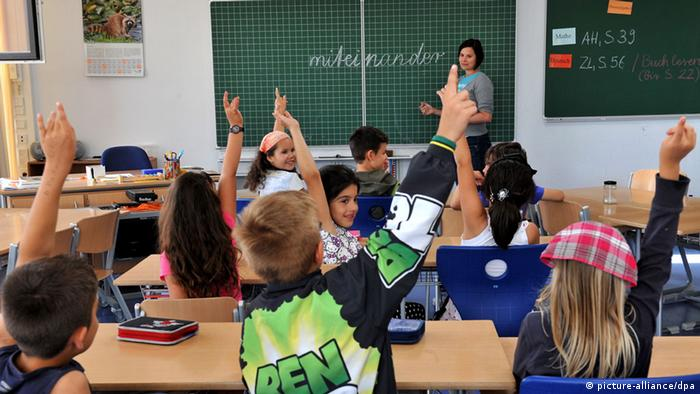 A class of schoolchildren during a lesson in Munich