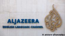 Schriftzug und Logo des arabischen Nachrichtensenders Al-Dschasira