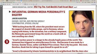 Screenshot der Liste der schlimmsten Antisemiten weltweit vom Simon-Wiesenthal Zentrum mit dem deutschen Journalisten und Verleger, Jakob Augstein, auf dem 9. Platz.