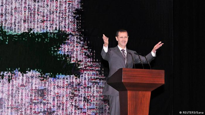 Syria's President Bashar al-Assad speaks at the Opera House in Damascus January 6, 2013, in this handout photograph released by Syria's national news agency SANA. A defiant al-Assad presented what he described as a new initiative on Sunday to end the war in Syria but his opponents dismissed it as a ploy to cling to power. REUTERS/Sana (SYRIA - Tags: POLITICS TPX IMAGES OF THE DAY) FOR EDITORIAL USE ONLY. NOT FOR SALE FOR MARKETING OR ADVERTISING CAMPAIGNS. THIS IMAGE HAS BEEN SUPPLIED BY A THIRD PARTY. IT IS DISTRIBUTED, EXACTLY AS RECEIVED BY REUTERS, AS A SERVICE TO CLIENTS