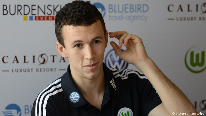 Perisic in Belek in Turkey (06.01.2013) being introduced to the press as a Wolfsburg player. (Photo via dpa)