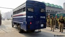 A police van carrying five men accused of the gang rape and murder of an Indian student arrives at a court in New Delhi January 7, 2013. Five men accused of the gang rape and murder of an Indian student appeared in court on Monday to hear charges against them, after two of them offered evidence possibly in return for a lighter sentence in the case that has led to a global outcry. The five men, along with a teenager, are accused of raping the 23-year-old physiotherapy student on a bus in New Delhi. She died two weeks later on December 28 in a Singapore hospital. REUTERS/Stringer (INDIA - Tags: CRIME LAW CIVIL UNREST POLITICS TPX IMAGES OF THE DAY)