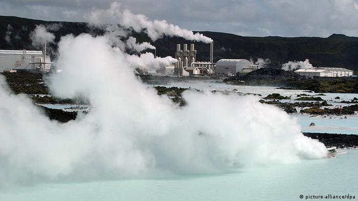 Reykjavik - Blue Lagoon View of the Blue Lagoon in Grindavik near Reykjavik. The 36 degree warm water comes to the power station Svartsengi (background) from the lava field. The geothermal spa is known for its healthy effect. (Picture taken September 2003)