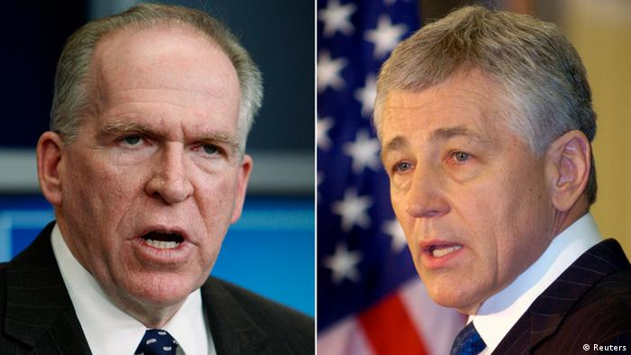 A combination photograph shows Assistant to the President for Counterterrorism and Homeland Security John Brennan (L) and former U.S. Senator Chuck Hagel (R-NE) in Washington in January 7, 2010 and in Omaha, Nebraska in March 12, 2007 respectively. President Barack Obama on January 7, 2013 will announce the nominations of Republican Chuck Hagel as his next defense secretary and White House counterterrorism adviser John Brennan as the new CIA director, a senior administration official said. REUTERS/Files (UNITED STATES - Tags: HEADSHOT POLITICS)