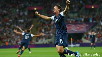 USA's Abby Wambach celebrates the goal of USA's Carli Lloyd during the Women's Gold Medal soccer Match between USA and Japan, at the London Olympic Games 2012, on Wembley Stadium in London, Great Britain, 09 August 2012. (photo via dpa)