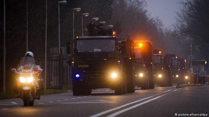 Trucks transporting the Patriot missiles in the Netherlands