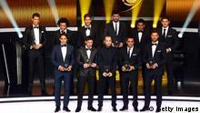 Gruppenfoto FIFA FIFpro World XI 2012 Fußball Ehrung Preis