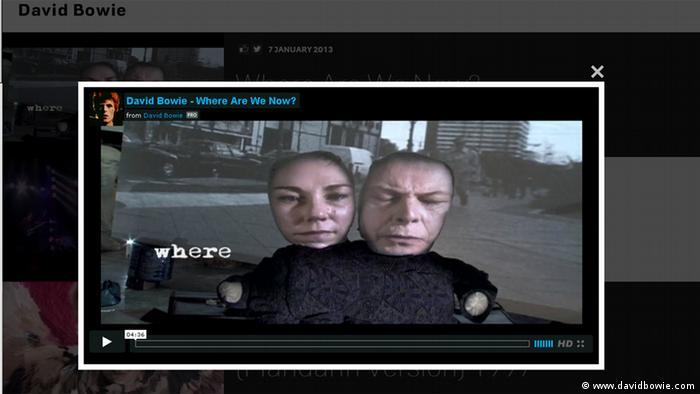 Screenshot Veröffentlichung David Bowie
