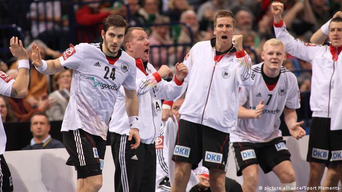 The German handball team in a match