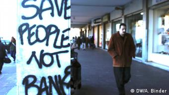 Save people not banks - graffiti on wall in Italy (Photo: DW/ Antje Binder)