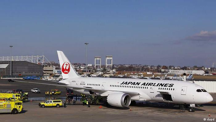 A file photo of a Japan Airlines Dreamliner, taken at Logan International Airport, Boston, on January 7, 2013.