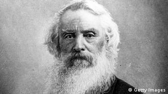 Foto antiga em preto e branco de Samuel Morse, velhinho de barbas e cabelos brancos