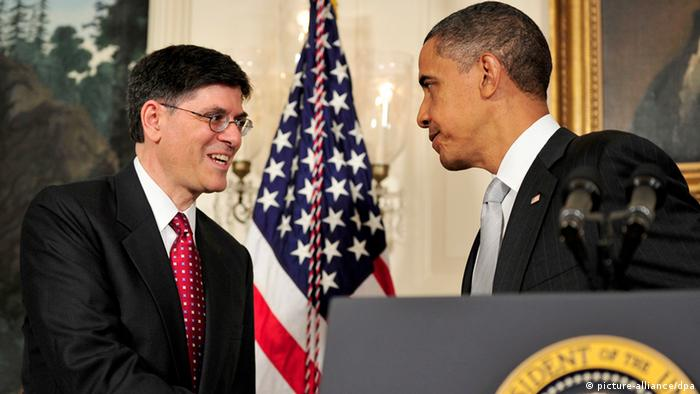 A file photograph showing US President Barack Obama (R) shakes hands with Jacob J. Jack Lew (L)