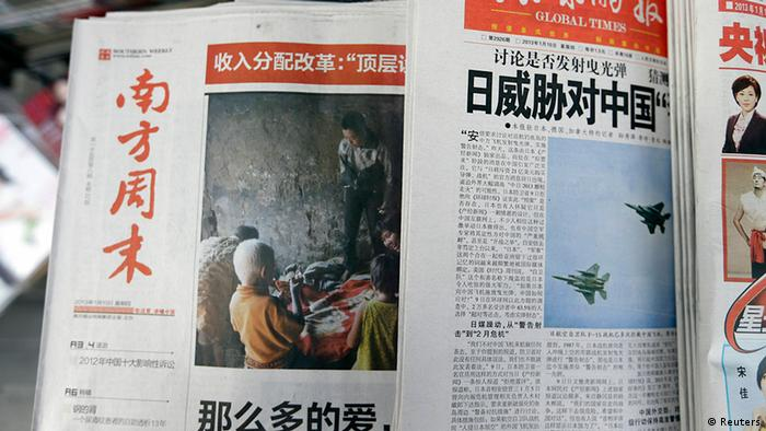 China Guangzhou die Zeitung Southern Weekly erscheint nur in Peking (Reuters)