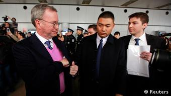Google Executive Chairman Eric Schmidt (L) leaves after a media briefing upon his arrival from North Korea at Beijing Capital International airport January 10, 2013. Former New Mexico governor Bill Richardson and Schmidt failed to secure the release of a Korean-American held in North Korea since December during a controversial trip to the secretive state. REUTERS/Petar Kujundzic (CHINA - Tags: POLITICS SCIENCE TECHNOLOGY BUSINESS)