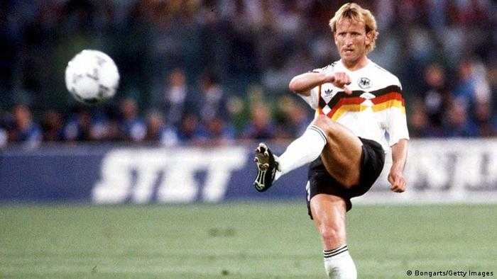 ROME, ITALY - JULY 08: WM 1990, FINALE, ARGENTINIEN - DEUTSCHLAND (ARG - GER) 0:1, Rom; Andreas BREHME/GER - SIEGER/JUBEL/WELTMEISTER - (Photo by Lutz Bongarts/Bongarts/Getty Images)