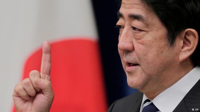 Japanese Prime Minister Shinzo Abe gestures during a news conference at his official residence in Tokyo, Friday, Jan. 11, 2013. (Photo:Itsuo Inouye/AP/dapd)