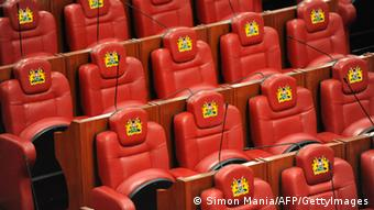 A picture shows the newly refurbished seats of Kenya's parliament (SIMON MAINA/AFP/GettyImages)