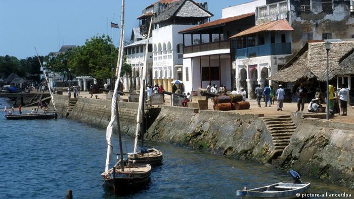Boats and buildings at Lamu's habor