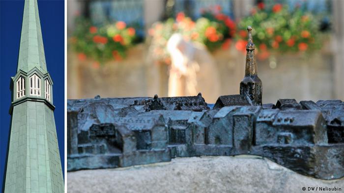Церковный шпиль и макет Старого города