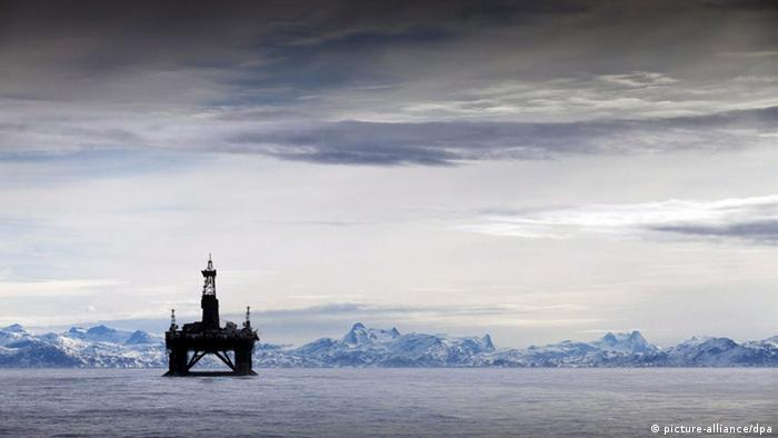 An oil platform off the coast of Alaska, USA.
