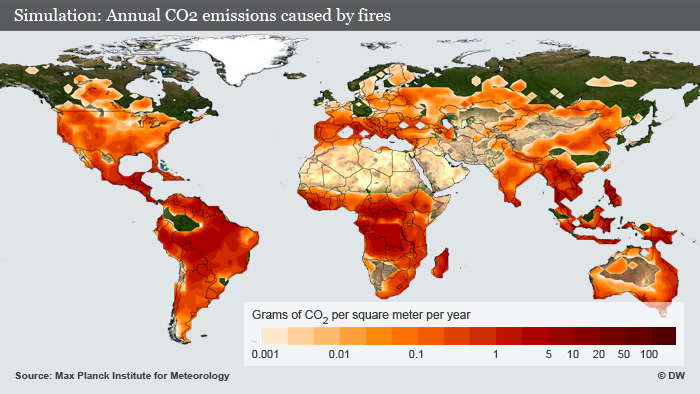 Map of the world showing CO² emissions. (Photo: DW)
