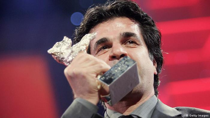 BERLIN - FEBRUARY 18: Director Jafar Panahi kisses his trophy during the Golden Bear Award Gala as part of the 56th Berlin International Film Festival (Berlinale) on February 18, 2006 in Berlin, Germany. His movie 'Offside' won the Jury Grand Prix Silver Bear. (Photo by Sean Gallup/Getty Images)