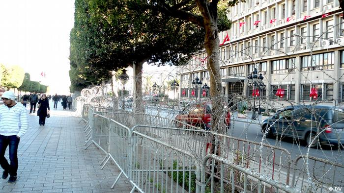 Main title: Tunisian Revolution anniversary Photo title: Security fence in front of the headquarters of the Interior Ministry Place and date: Habib Bourguiba Avenue,Tunis 12 January 2013 Copyright/photographer: Deutsche Welle correspondent Tarak Guizani