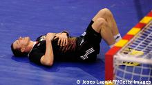 Germany's leftwing Dominik Klein reacts during the 23rd Men's Handball World Championships preliminary round Group A match Tunisia vs Germany at the Palacio de los Deportes de Granollers on January 13, 2013. Tunisia won 25-23. AFP PHOTO/ JOSEP LAGO (Photo credit should read JOSEP LAGO/AFP/Getty Images)
