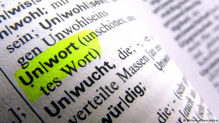 Ein aufgeschlagenes Lexikon zeigt das Wort Unwort (Foto: dpa)