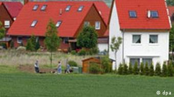A row of houses in rural Germany