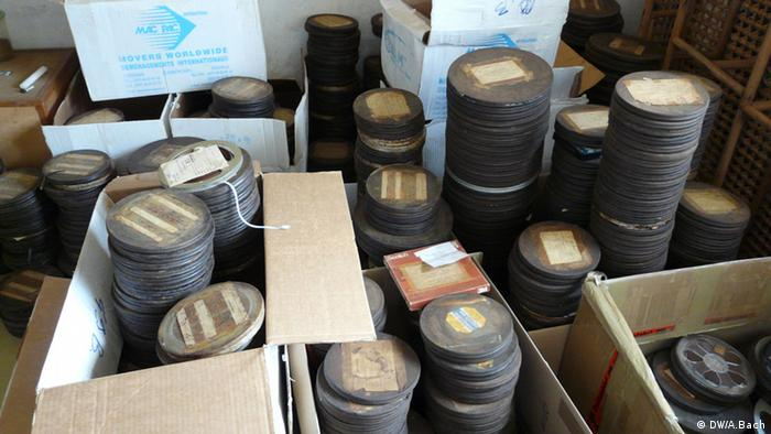 Boxes of old, worn audio tapes in Joachim Oelsner's collection in Yaoundé, Cameroon