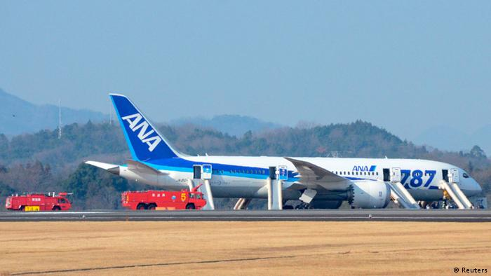 An All Nippon Airways (ANA) Boeing 787 Dreamliner is seen after making an emergency landing at Takamatsu airport in western Japan January 16, 2013, in this photo taken by Kyodo. The plane made the landing in Takamatsu after smoke appeared in the plane's cockpit, but all 137 passengers and crew members were evacuated safely, Osaka Airport said on Wednesday. Mandatory Credit REUTERS/Kyodo (JAPAN - Tags: TRANSPORT DISASTER BUSINESS) ATTENTION EDITORS - THIS IMAGE WAS PROVIDED BY A THIRD PARTY. THIS PICTURE IS DISTRIBUTED EXACTLY AS RECEIVED BY REUTERS, AS A SERVICE TO CLIENTS. FOR EDITORIAL USE ONLY. NOT FOR SALE FOR MARKETING OR ADVERTISING CAMPAIGNS. MANDATORY CREDIT. JAPAN OUT. NO COMMERCIAL OR EDITORIAL SALES IN JAPAN. YES