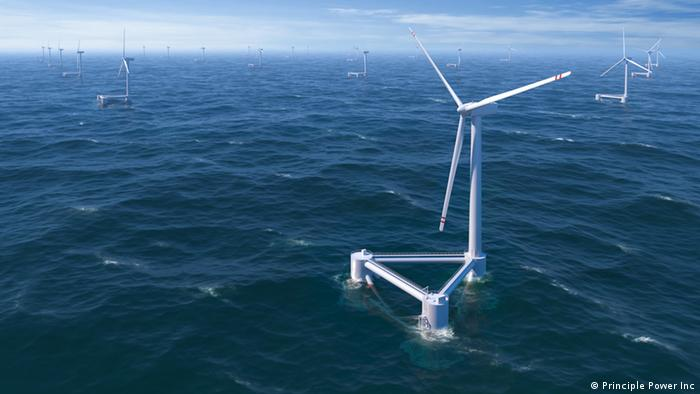 A floating wind turbine sits on the surface of the water (Photo: Principle Power Inc.)