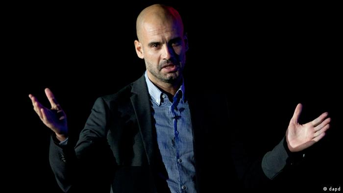 Former Barcelona soccer coach Pep Guardiola speaks at Mexico Siglo XXI, an event organized by the Telmex Foundation in Mexico City, Friday, Sept. 21, 2012. (Foto:Alexandre Meneghini/AP/dapd)