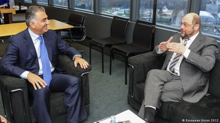 رضا پهلوی در دیدار با مارتین شولتس رئیس پارلمان اروپا