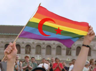 Rainbow flag sporting the Turkish crescent and star