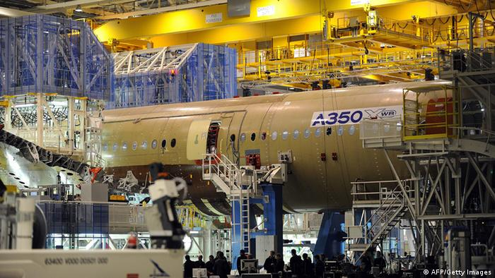 Airbus long-haul plane A350 XWB (eXtra Wide Body) under construction REMY GABALDA/AFP/Getty Images