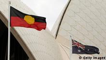 Australien Flaggen der Aborigines und Australiens CLOSE